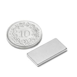 Q-20-10-02-N Block magnet 20 x 10 x 2 mm, neodymium, N45, nickel-plated
