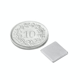 Q-10-10-01-N Blokmagneet 10 x 10 x 1 mm, houdt ca. 600 gr, neodymium, N42, vernikkeld