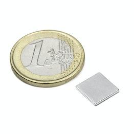 Q-10-10-01-N Block magnet 10 x 10 x 1 mm, holds approx. 600 g, neodymium, N42, nickel-plated