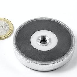 ITF-50 Magnete in ferrite con base in acciaio con filettatura interna M8, tiene ca. 17 kg, ø 50 mm