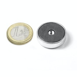 ITF-25 Magnete in ferrite con base in acciaio con filettatura interna M4, Ø 25 mm
