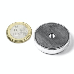 ITF-32 Magnete in ferrite con base in acciaio con filettatura interna M4, Ø 32 mm