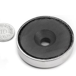 CSF-48 Magnete in ferrite con base in acciaio, con foro svasato, Ø 48 mm