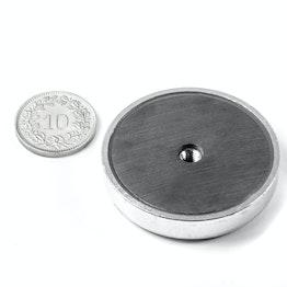 ITF-40 Magnete in ferrite con base in acciaio con filettatura interna M4, Ø 40 mm