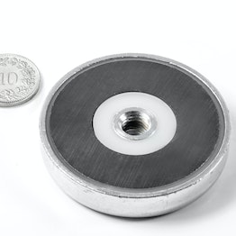 ITF-50 Magnete in ferrite con base in acciaio con filettatura interna M8, Ø 50 mm
