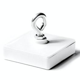 Plafondmagneet met ring houdt ca. 30 kg, ferriet magneetsysteem in kunststof behuizing, vierkant, 58 x 58 mm
