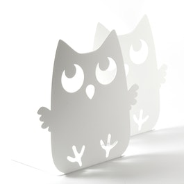 Bookends with animal design powder-coated steel, set of 2, owl, not magnetic!