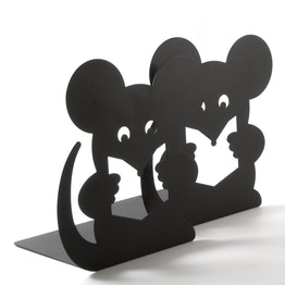 Buchstützen mit Tiermotiv pulverbeschichteter Stahl, 2er-Set, Maus, nicht magnetisch!