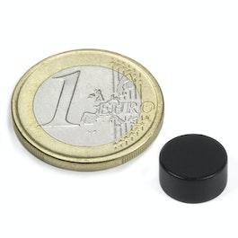 Kleur zwart Schijfmagneet Ø 10 mm, hoogte 5 mm, neodymium, N42, epoxy coating