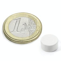S-10-05-E/white Disco magnetico Ø 10 mm, altezza 5 mm, neodimio, N42, rivestito in resina epossidica