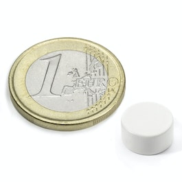 S-10-05-E/white Schijfmagneet Ø 10 mm, hoogte 5 mm, neodymium, N42, epoxy coating