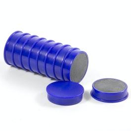 Bordmagneten van ferriet set met 10 kantoormagneten, Ø 30 mm, blauw