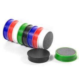 Bordmagneten van ferriet geplastificeerd, set van 10, telkens 2 zwart, wit, blauw, rood, groen