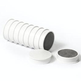 Bordmagneten van ferriet geplastificeerd, set van 10, wit