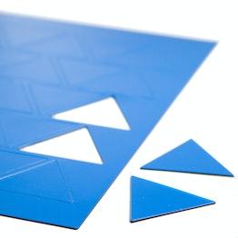 Magnetische symbolen driehoek groot voor whiteboards & planborden, beschrijfbaar, 25 symbolen per A4-blad, blauw
