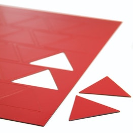 Magnetische symbolen driehoek groot voor whiteboards & planborden, beschrijfbaar, 25 symbolen per A4-blad, rood