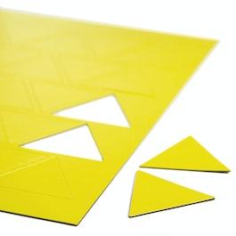 Magnetsymbole Dreieck groß für Whiteboards & Planungstafeln, beschreibbar, 25 Symbole pro A4-Bogen, gelb