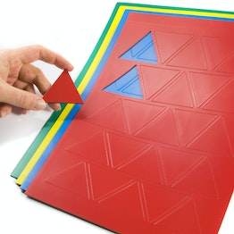 Magnetic symbols Triangle large for whiteboards & planning boards, write-on, 25 symbols per A4 sheet, in different colours