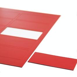 Magnetische symbolen rechthoek groot voor whiteboards & planborden, 10 symbolen per A4-blad, rood