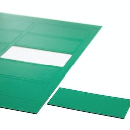 Magnetische symbolen rechthoek groot voor whiteboards & planborden, beschrijfbaar, 10 symbolen per A4-blad, groen