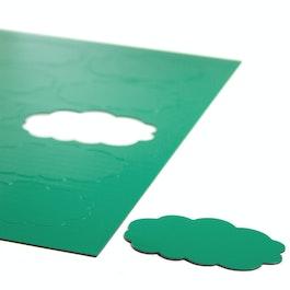 Simboli magnetici nuvola per lavagne bianche e lavagne per la progettazione, scrivibili, 10 simboli per foglio A4, verde
