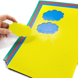 Magnetic symbols Cloud for whiteboards & planning boards, 10 symbols per A4 sheet, in different colours