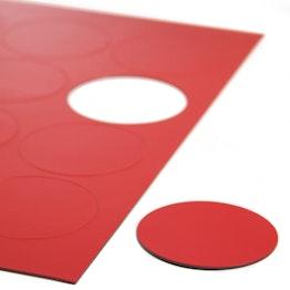 Simboli magnetici cerchio grandi per lavagne bianche e lavagne per la progettazione, scrivibili, 12 simboli per foglio A4, rossi