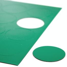 Magnetische symbolen cirkel groot voor whiteboards & planborden, 12 symbolen per A4-blad, groen
