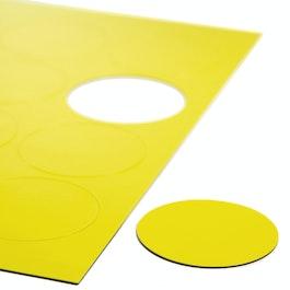 Círculos magnéticos grandes para pizarras blancas y de planificación, rotulables, 12 símbolos por hoja A4, amarillo
