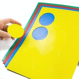Magnetische symbolen cirkel groot voor whiteboards & planborden, beschrijfbaar, 12 symbolen per A4-blad, in verschillende kleuren