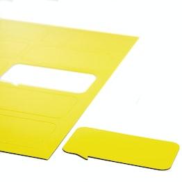 Magneetsymbolen tekstballon rechthoekig voor whiteboards & planborden, beschrijfbaar, 10 symbolen per A4-blad, geel