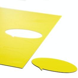 Magneetsymbolen tekstballon ovaal voor whiteboards & planborden, beschrijfbaar, 10 symbolen per A4-blad, geel