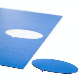 Simboli magnetici fumetto ovale per lavagne bianche e lavagne per la progettazione, scrivibili, 10 simboli per foglio A4, blu