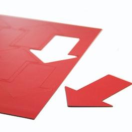 Magnetische symbolen pijl groot voor whiteboards & planborden, 8 symbolen per A4-blad, rood