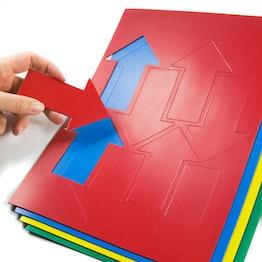 Magnetsymbole Pfeil groß für Whiteboards & Planungstafeln, beschreibbar, 8 Symbole pro A4-Bogen, in verschiedenen Farben