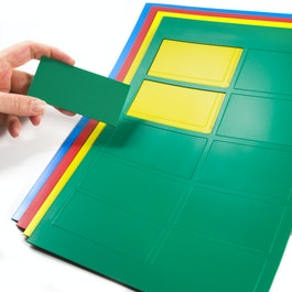 Rectángulos magnéticos grandes para pizarras blancas y de planificación, 10 símbolos por hoja A4, en diferentes colores