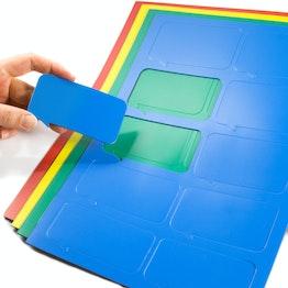 Bocadillo magnético rectangular para pizarras blancas y de planificación, rotulables, 10 símbolos por hoja A4, en diferentes colores
