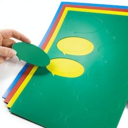 Magneetsymbolen tekstballon ovaal voor whiteboards & planborden, beschrijfbaar, 10 symbolen per A4-blad, in verschillende kleuren
