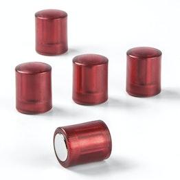Bordmagneten cilindrisch neodymium magneten met kunststof kapje, Ø 14 mm, transparent rood