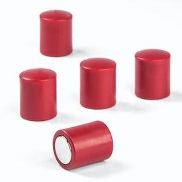Bordmagneten cilindrisch neodymium magneten met kunststof kapje, Ø 14 mm, rood