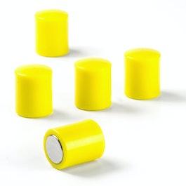 Imanes de pizarra cilíndricos imanes de neodimio con tapa de plástico, Ø 14 mm, amarillo