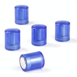 Bordmagneten cilindrisch neodymium magneten met kunststof kapje, Ø 14 mm, transparant blauw