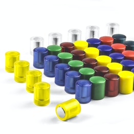 Blackboard magnets cylindrical neodymium magnets with plastic cap, Ø 14 mm, in different colours