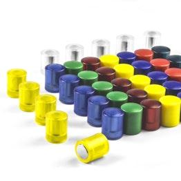Tafelmagnete zylindrisch Neodym-Magnete mit Kunststoffkappe, Ø 14 mm, in verschiedenen Farben