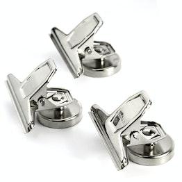 Pinzas magnéticas sujeta aprox. 4,5 kg, plateadas, de metal, 3 uds.