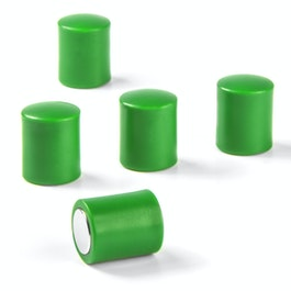 Blackboard magnets cylindrical neodymium magnets with plastic cap, Ø 14 mm, green