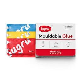 Sugru 3er-Pack formbarer Kleber, 1x rot, 1x gelb, 1x blau, Packungen zu je 5 g