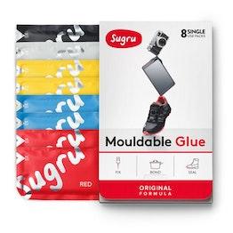 Sugru pacco da 8 colla modellabile, 1x nera, 1x bianca, 2x rossa, 2x blu, 2x gialla, confezioni da 5 g ciascuna