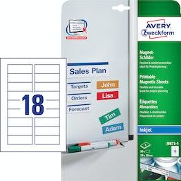 Magneetbordjes om te printen J8871-5 90 magneetbordjes van Avery Zweckform in de afmetingen 78 x 28 mm, met inkjet printer te bedrukken, om metalen rekken, whiteboards enz. te etiketteren