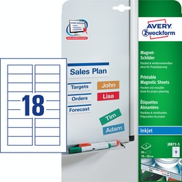 Magnetic labels printable J8871-5 90 magnetic Avery labels, size 78 x 28 mm, printable on inkjet printers, for labelling metal shelves, whiteboards, etc.